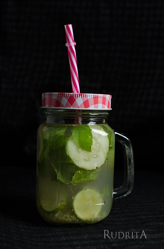 Detox water in a glass jar